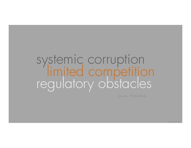 systemic corruption limited competition regulatory obstacles Source: World Bank © 2016 Juan Llanos