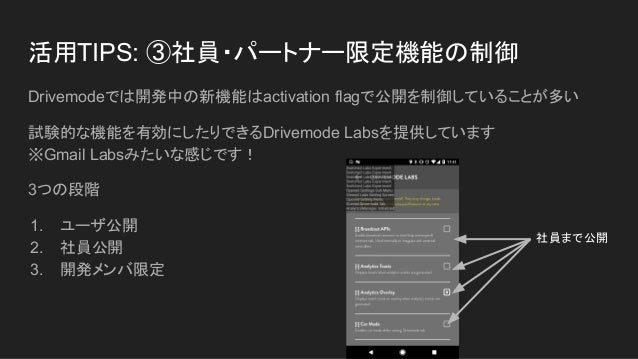 活用TIPS: ③社員・パートナー限定機能の制御 Drivemodeでは開発中の新機能はactivation flagで公開を制御していることが多い 試験的な機能を有効にしたりできるDrivemode Labsを提供しています ※Gmail L...