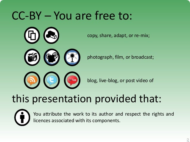 2 2 CC-BY – You are free to: copy, share, adapt, or re-mix; photograph, film, or broadcast; blog, live-blog, or post video...