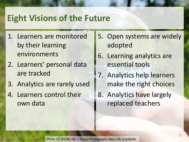 Photo CC BY-NC-ND J Sibiga Photography https://flic.kr/p/8jkiNi Eight Visions of the Future 1. Learners are monitored by t...
