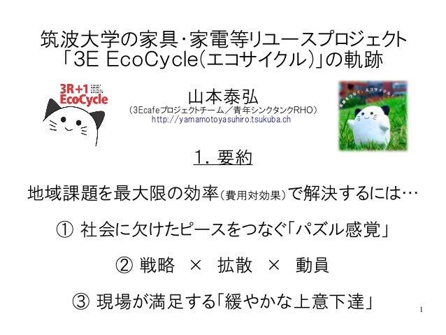 1 筑波大学の家具・家電等リユースプロジェクト 「3E EcoCycle(エコサイクル)」の軌跡 山本泰弘 (3Ecafeプロジェクトチーム/青年シンクタンクRHO) http://yamamotoyasuhiro.tsukuba.ch 1.要...