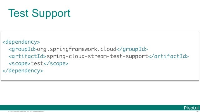 © 2016 Pivotal Software, Inc. All rights reserved. Test Support <dependency> <groupId>org.springframework.cloud</groupId> ...