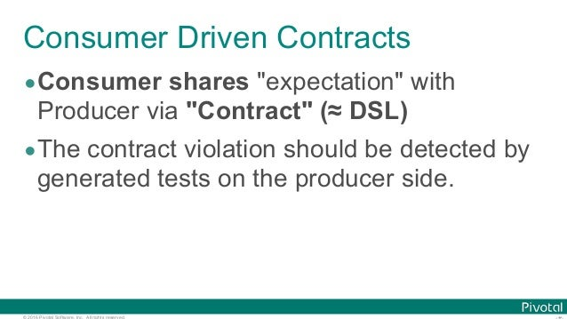 """© 2016 Pivotal Software, Inc. All rights reserved. Consumer Driven Contracts •Consumer shares """"expectation"""" with Producer ..."""