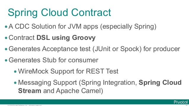 © 2016 Pivotal Software, Inc. All rights reserved. Spring Cloud Contract •A CDC Solution for JVM apps (especially Spring) ...