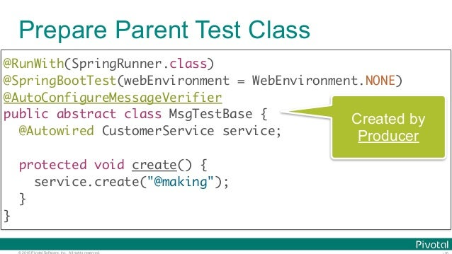© 2016 Pivotal Software, Inc. All rights reserved. Prepare Parent Test Class @RunWith(SpringRunner.class) @SpringBootTest...