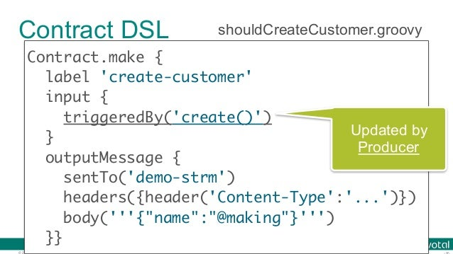 © 2016 Pivotal Software, Inc. All rights reserved. Contract DSL Contract.make { label 'create-customer' input { triggeredB...