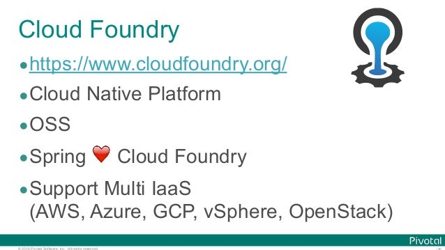 © 2016 Pivotal Software, Inc. All rights reserved. Cloud Foundry •https://www.cloudfoundry.org/ •Cloud Native Platform •OS...