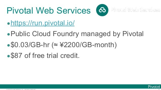© 2016 Pivotal Software, Inc. All rights reserved. Pivotal Web Services •https://run.pivotal.io/ •Public Cloud Foundry man...