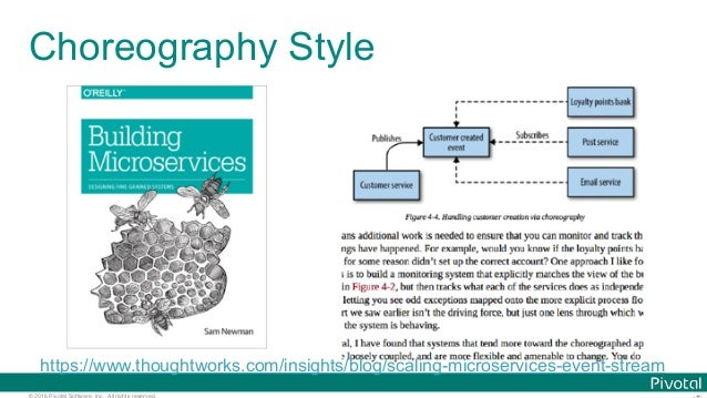 © 2016 Pivotal Software, Inc. All rights reserved. Choreography Style https://www.thoughtworks.com/insights/blog/scaling-m...
