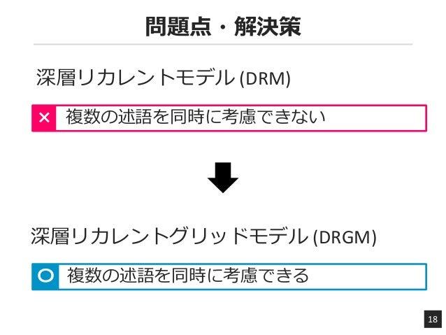 問題点・解決策 18 深層リカレントモデル (DRM) 複数の述語を同時に考慮できない× 複数の述語を同時に考慮できる〇 深層リカレントグリッドモデル (DRGM)
