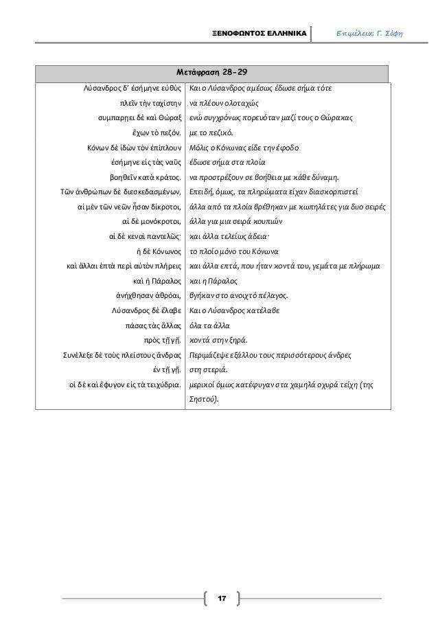 ΞΕΝΟΦΩΝΤΟΣ ΕΛΛΗΝΙΚΑ Επιμέλεια: Γ. Σόφη 17 Μετάφραση 28-29 Λύσανδρος δ' ἐσήμηνε εὐθὺς Και ο Λύσανδρος αμέσως έδωσε σήμα τότ...