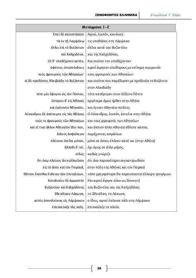 ΞΕΝΟΦΩΝΤΟΣ ΕΛΛΗΝΙΚΑ Επιμέλεια: Γ. Σόφη 24 Μετάφραση 1-2 Ἑπεί δὲ κατεστήσατο Αφού, λοιπόν, κανόνισε τὰ ἐν τῇ Λαμψάκῳ τις υπ...