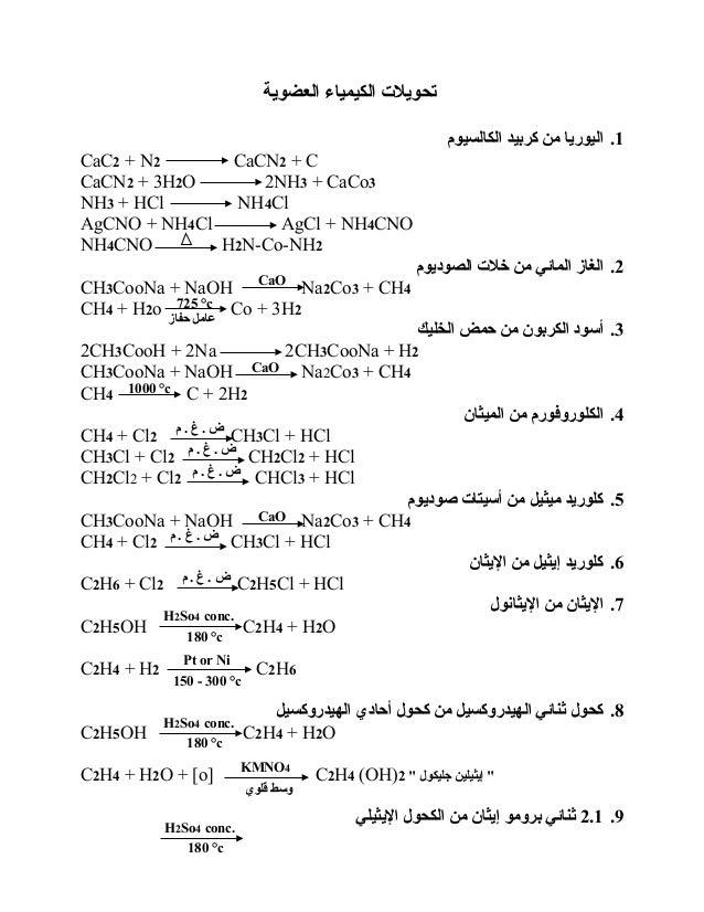 العضوية الكيمياء تحويل ت 1.الكالسيوم كربيد من اليوريا CaC2 + N2 CaCN2 + C CaCN2 + 3H2O 2NH3 + CaCo3 NH3 + HC...