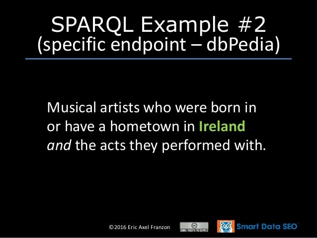 ©2016 Eric Axel Franzon SPARQL Example #2 (specific endpoint – dbPedia) Musical artists who were born in or have a hometow...