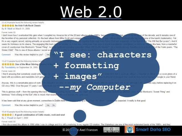 """©2016 Eric Axel Franzon Web 2.0 """"I see: characters + formatting + images"""" --my Computer"""