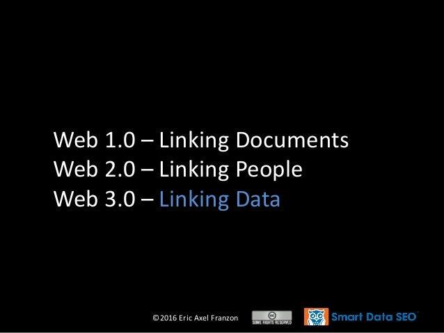 ©2016 Eric Axel Franzon Web 1.0 – Linking Documents Web 2.0 – Linking People Web 3.0 – Linking Data