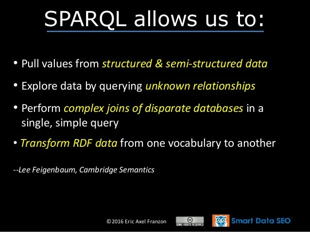 ©2016 Eric Axel Franzon SPARQL allows us to: • Pull values from structured & semi-structured data • Explore data by queryi...