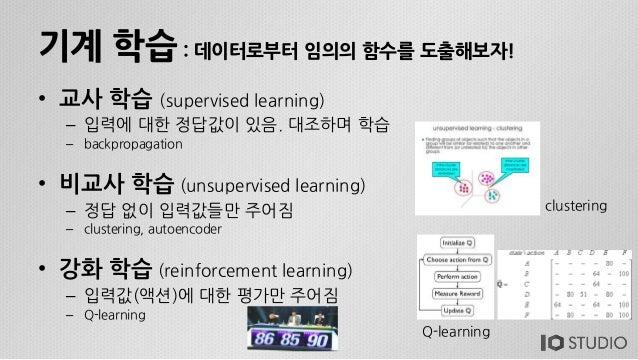 기계 학습 : 데이터로부터 임의의 함수를 도출해보자! • 교사 학습 (supervised learning) – 입력에 대한 정답값이 있음. 대조하며 학습 – backpropagation • 비교사 학습 (unsuperv...