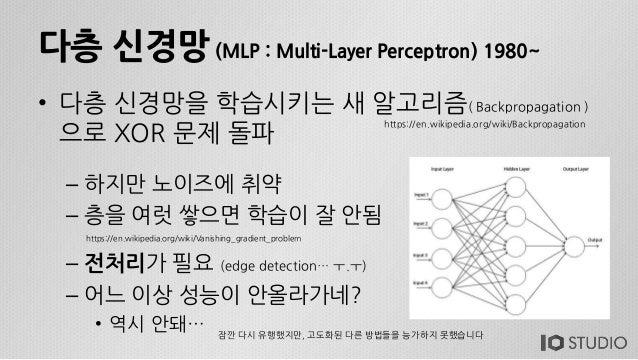다층 신경망 (MLP : Multi-Layer Perceptron) 1980~ • 다층 신경망을 학습시키는 새 알고리즘( Backpropagation ) 으로 XOR 문제 돌파 – 하지만 노이즈에 취약 – 층을 여럿 쌓...