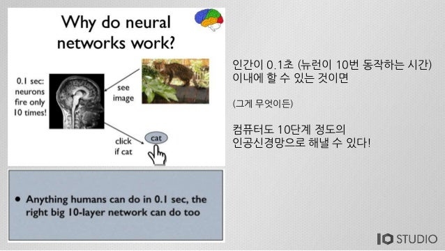 인간이 0.1초 (뉴런이 10번 동작하는 시간) 이내에 할 수 있는 것이면 (그게 무엇이든) 컴퓨터도 10단계 정도의 인공신경망으로 해낼 수 있다!