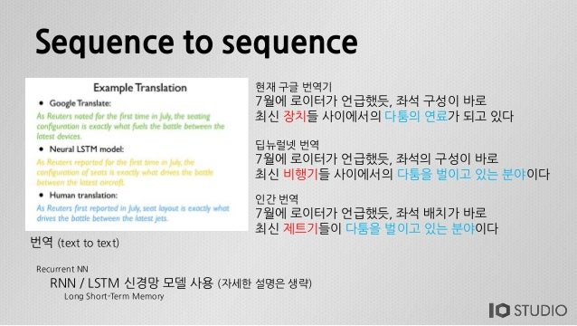 Sequence to sequence RNN / LSTM 신경망 모델 사용 (자세한 설명은 생략) Recurrent NN Long Short-Term Memory 번역 (text to text) 현재 구글 번역기 7월에...
