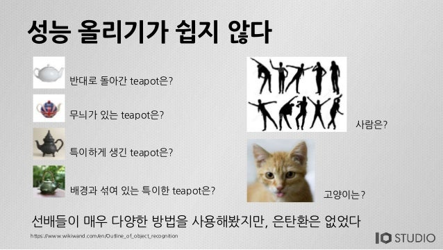 성능 올리기가 쉽지 않다 반대로 돌아간 teapot은? 무늬가 있는 teapot은? 특이하게 생긴 teapot은? 배경과 섞여 있는 특이한 teapot은? 사람은? 고양이는? https://www.wikiwand.com...