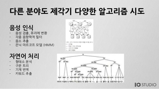 다른 분야도 제각기 다양한 알고리즘 시도 자연어 처리 - 형태소 분석 - 구문 트리 - 기계 번역 - 키워드 추출 음성 인식 - 음성 검출, 퓨리에 변환 - 각종 음향학적 필터 - 음소 추출 - 은닉 마르코프 모델 (H...