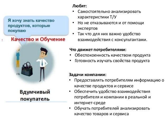 Что движет потребителями: • Обеспокоенность качеством продукта • Готовность изучать свойства продукта Задачи компании: • П...