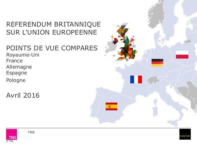 © TNS REFERENDUM BRITANNIQUE SUR L'UNION EUROPEENNE POINTS DE VUE COMPARES Royaume-Uni France Allemagne Espagne Pologne Av...