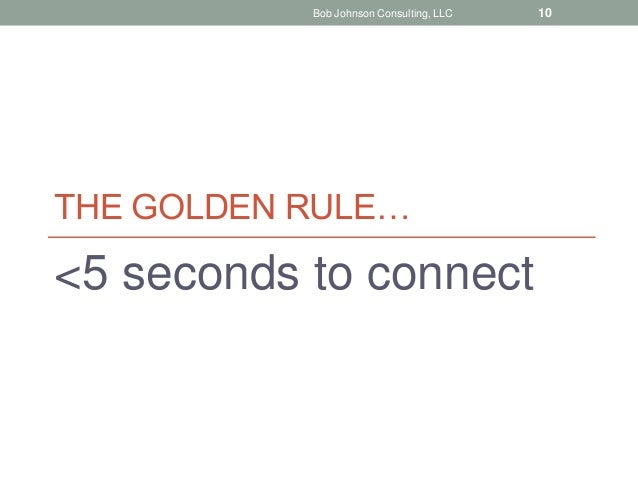 THE GOLDEN RULE… <5 seconds to connect Bob Johnson Consulting, LLC 10