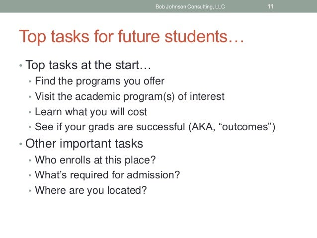 Top tasks for future students… • Top tasks at the start… • Find the programs you offer • Visit the academic program(s) of ...