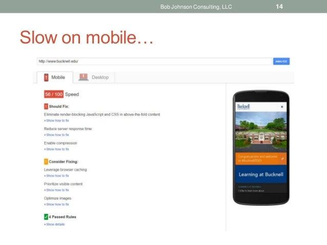 Slow on mobile… Bob Johnson Consulting, LLC 14