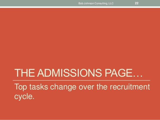 THE ADMISSIONS PAGE… Top tasks change over the recruitment cycle. Bob Johnson Consulting, LLC 22