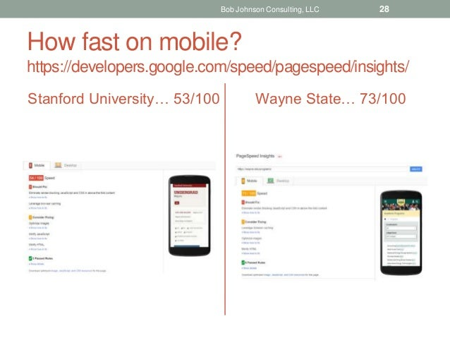 How fast on mobile? https://developers.google.com/speed/pagespeed/insights/ Stanford University… 53/100 Wayne State… 73/10...