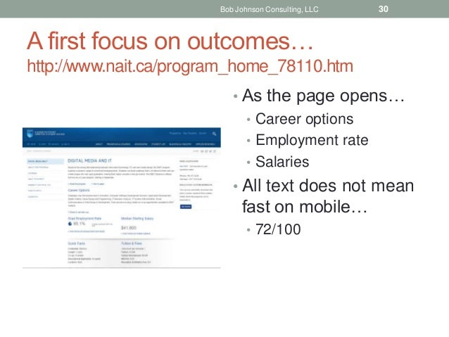 A first focus on outcomes… http://www.nait.ca/program_home_78110.htm • As the page opens… • Career options • Employment ra...