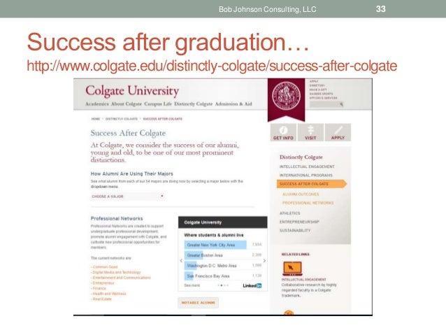 Success after graduation… http://www.colgate.edu/distinctly-colgate/success-after-colgate Bob Johnson Consulting, LLC 33