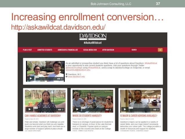 Increasing enrollment conversion… http://askawildcat.davidson.edu/ Bob Johnson Consulting, LLC 37