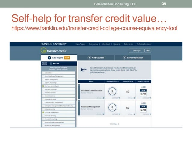 Self-help for transfer credit value… https://www.franklin.edu/transfer-credit-college-course-equivalency-tool Bob Johnson ...