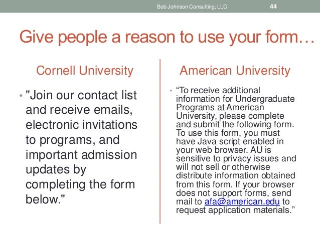 """Give people a reason to use your form… Cornell University • """"Join our contact list and receive emails, electronic invitati..."""