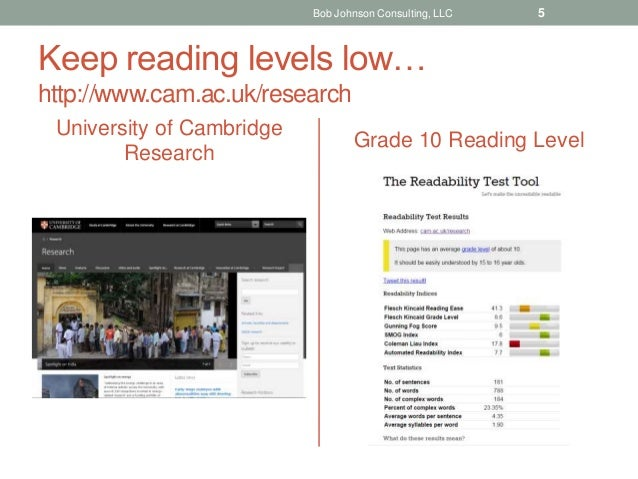 Keep reading levels low… http://www.cam.ac.uk/research University of Cambridge Research Grade 10 Reading Level Bob Johnson...