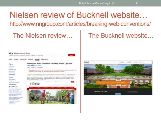 Nielsen review of Bucknell website… http://www.nngroup.com/articles/breaking-web-conventions/ The Nielsen review… The Buck...