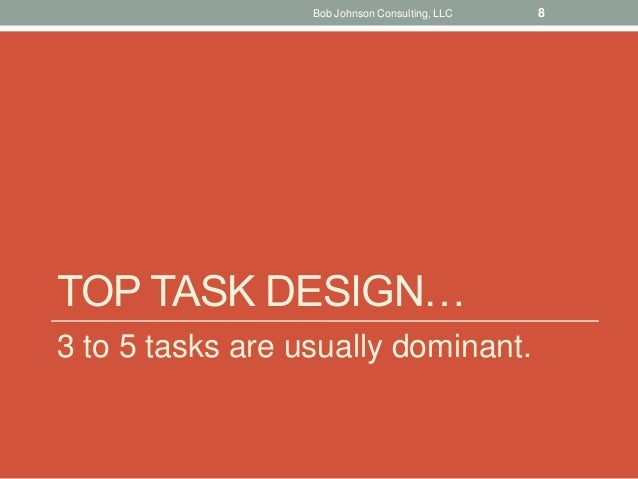 TOP TASK DESIGN… 3 to 5 tasks are usually dominant. Bob Johnson Consulting, LLC 8