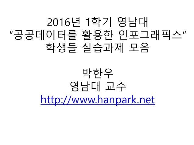 """2016년 1학기 영남대 """"공공데이터를 활용한 인포그래픽스"""" 학생들 실습과제 모음 박한우 영남대 교수 http://www.hanpark.net"""