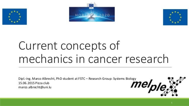 Current concepts of mechanics in cancer research Dipl.-ing. Marco Albrecht, PhD student at FSTC – Research Group: Systems ...