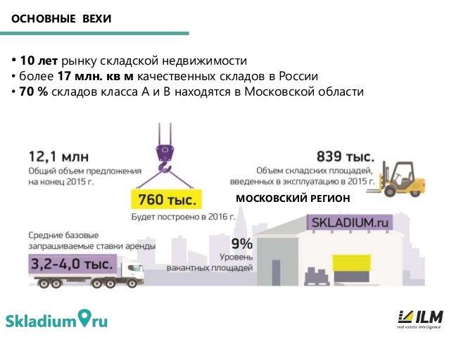 ОСНОВНЫЕ ВЕХИ • 10 лет рынку складской недвижимости • более 17 млн. кв м качественных складов в России • 70 % складов клас...
