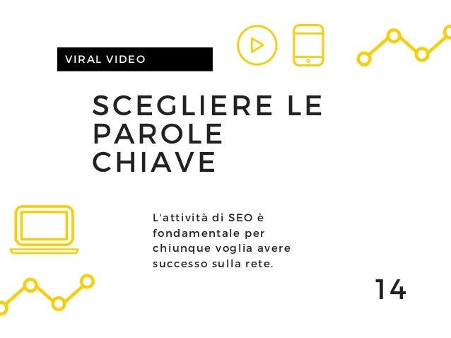 SCEGLIERE LE PAROLE CHIAVE VIRAL VIDEO 14 L'attività di SEO è fondamentale per chiunque voglia avere successo sulla rete.