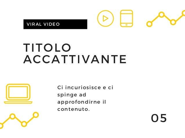 TITOLO ACCATTIVANTE VIRAL VIDEO 05 Ci incuriosisce e ci spinge ad approfondirne il contenuto.