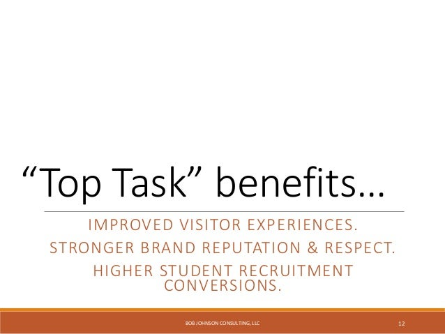 Keep. It. Simple. What do most people want from your website? Fast task completion. BOB JOHNSON CONSULTING, LLC 13