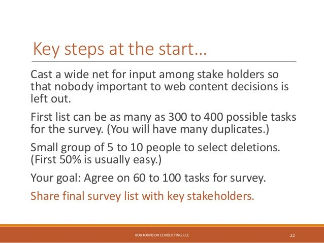 Other steps to build the long list… 1. Review your website for current tasks. 2. Review 3 to 5 competitor websites. 3. Rev...