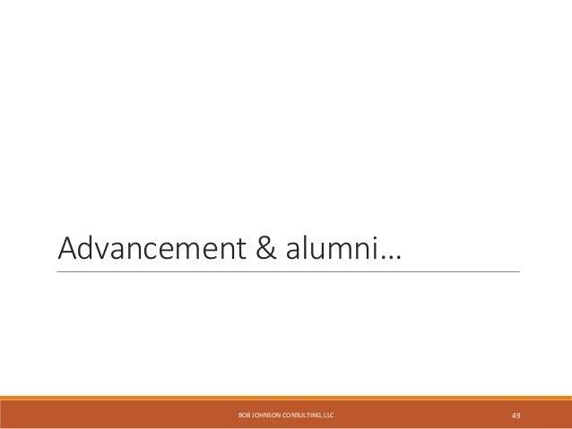 27 alumni tasks get center position… http://alumni.psu.edu/ BOB JOHNSON CONSULTING, LLC 50